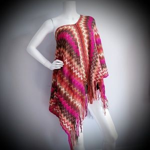 Accessories - Women's Poncho Sze M Pink Red Purple